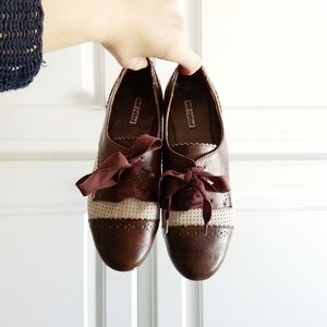 Womens Vintage Retro Laced Oxfords Saddle Shoes 9